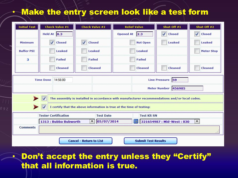 Make the entry screen look like a test form