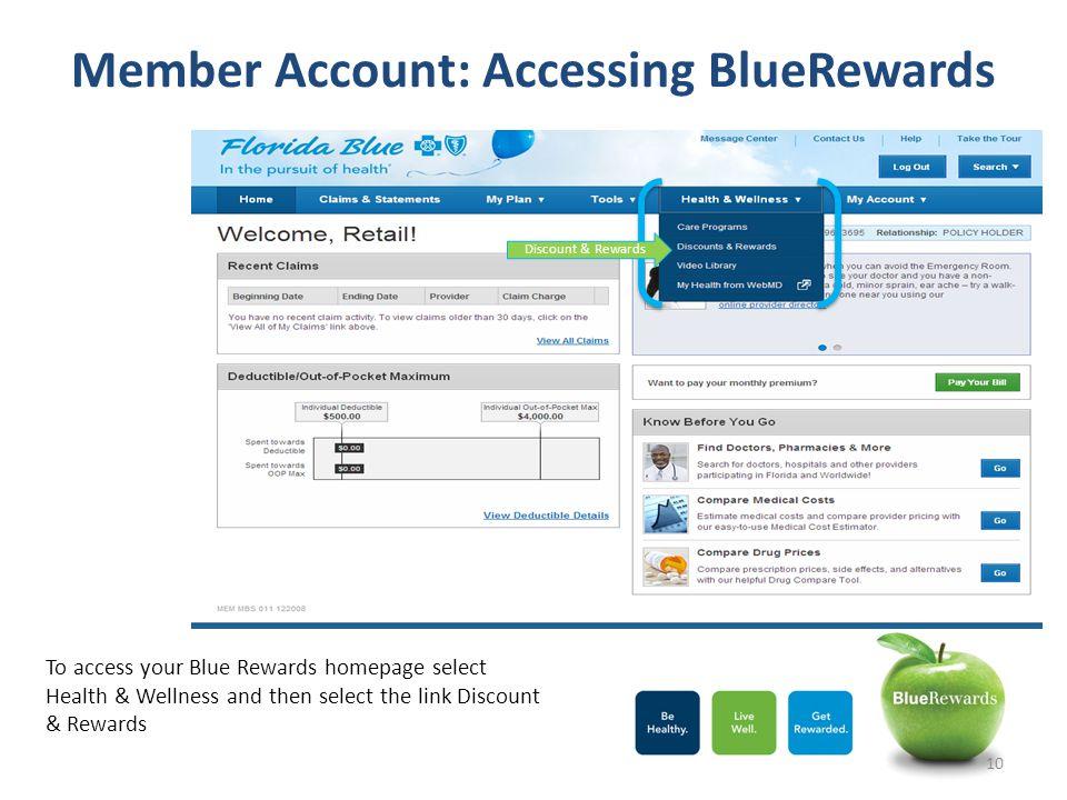 Member Account: Accessing BlueRewards