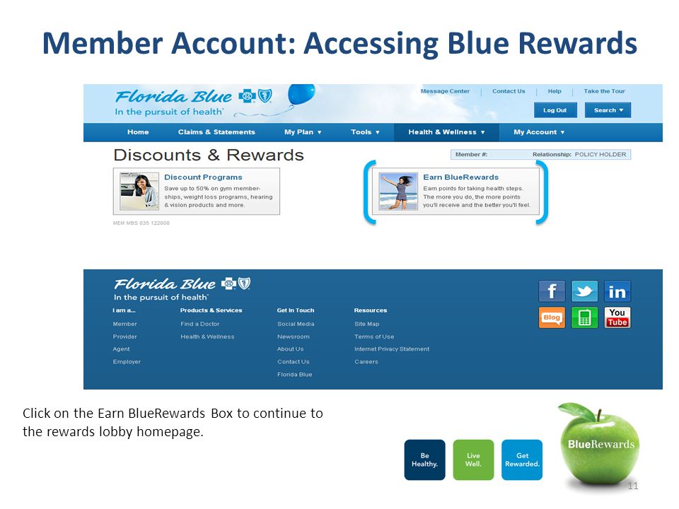 Member Account: Accessing Blue Rewards