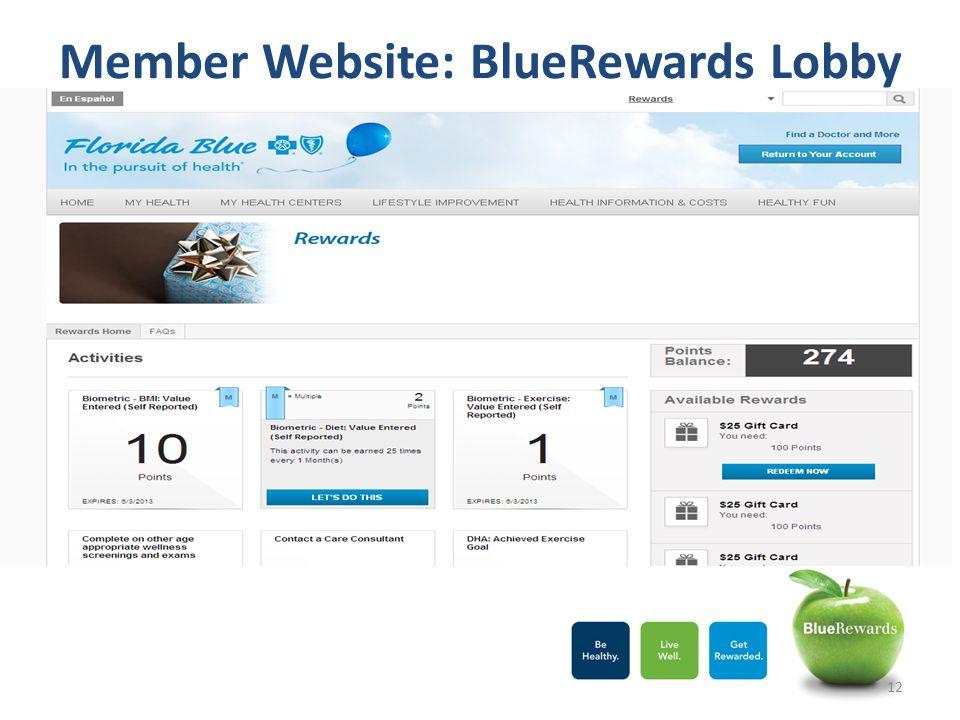 Member Website: BlueRewards Lobby
