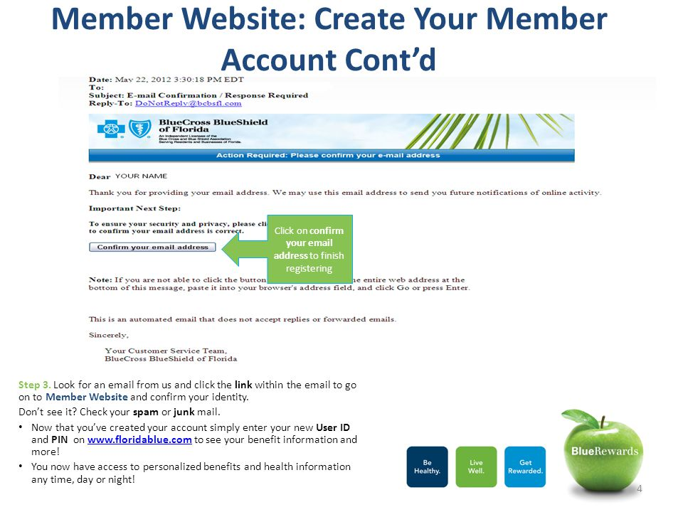 Member Website: Create Your Member Account Cont'd