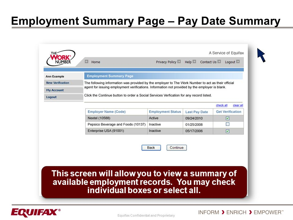 Employment Summary Page – Pay Date Summary