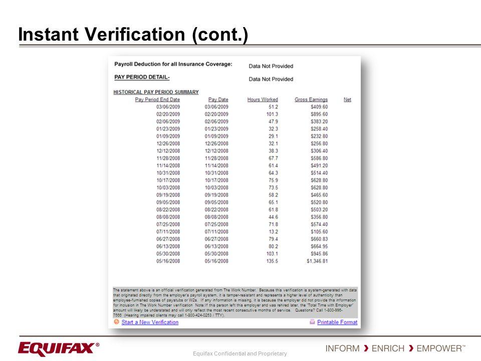 Instant Verification (cont.)
