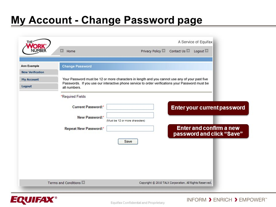 My Account - Change Password page