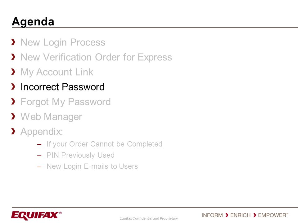 Agenda New Login Process New Verification Order for Express