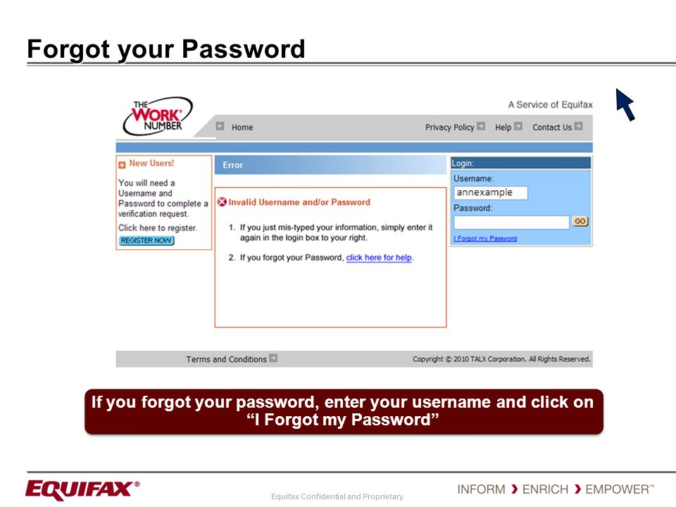 Forgot your Password If you forgot your password, enter your username and click on I Forgot my Password