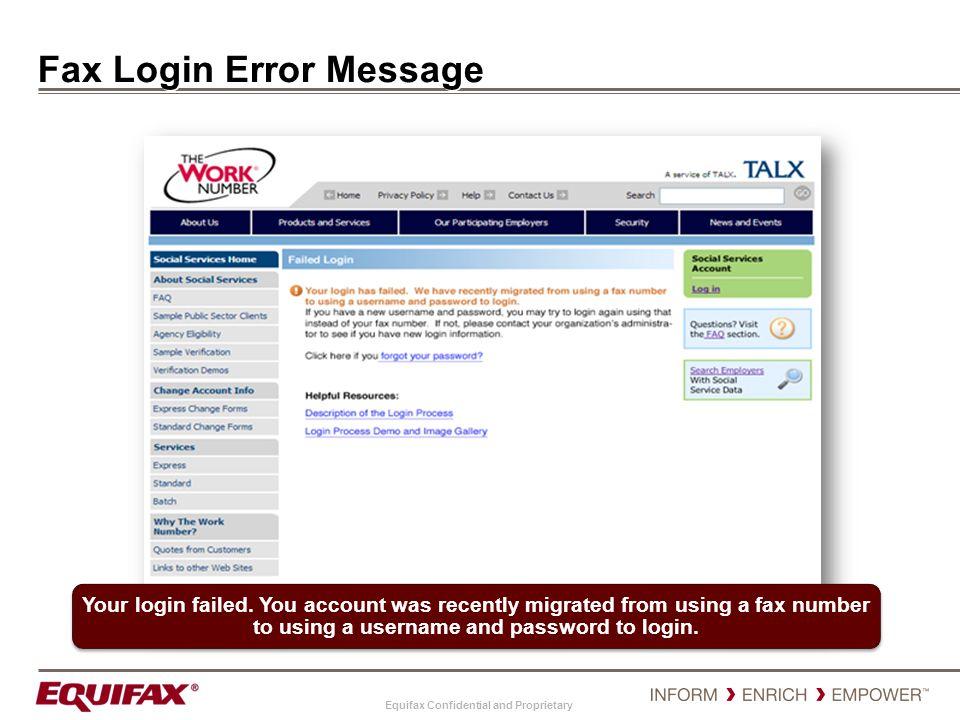 Fax Login Error Message