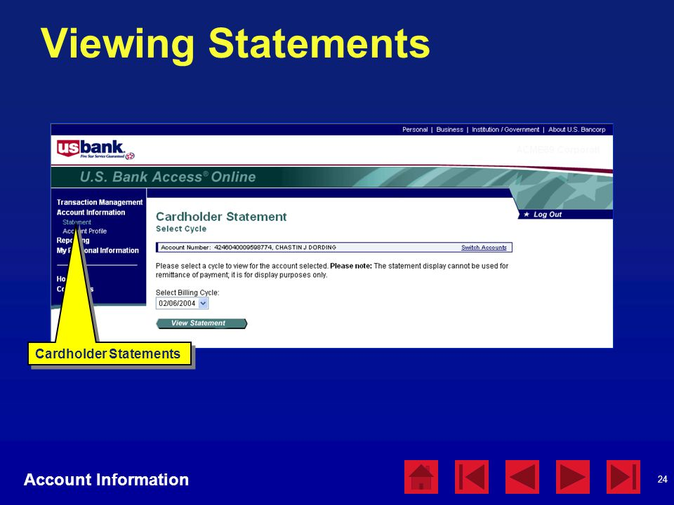 Viewing Statements Account Information Cardholder Statements