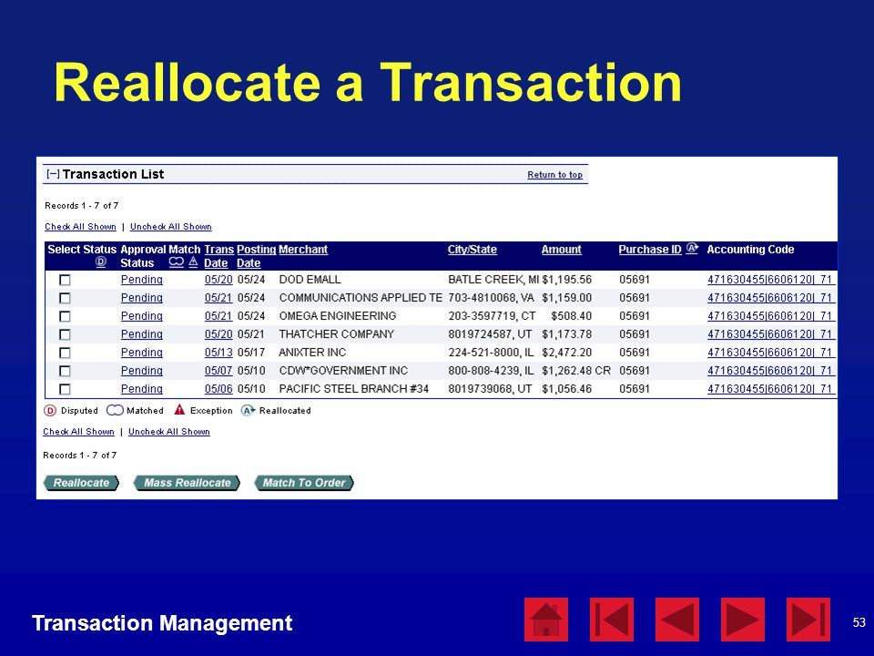 Reallocate a Transaction