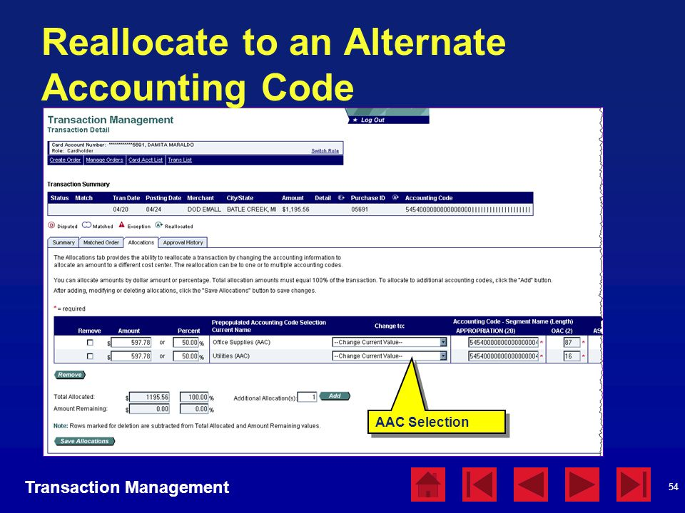 Reallocate to an Alternate Accounting Code