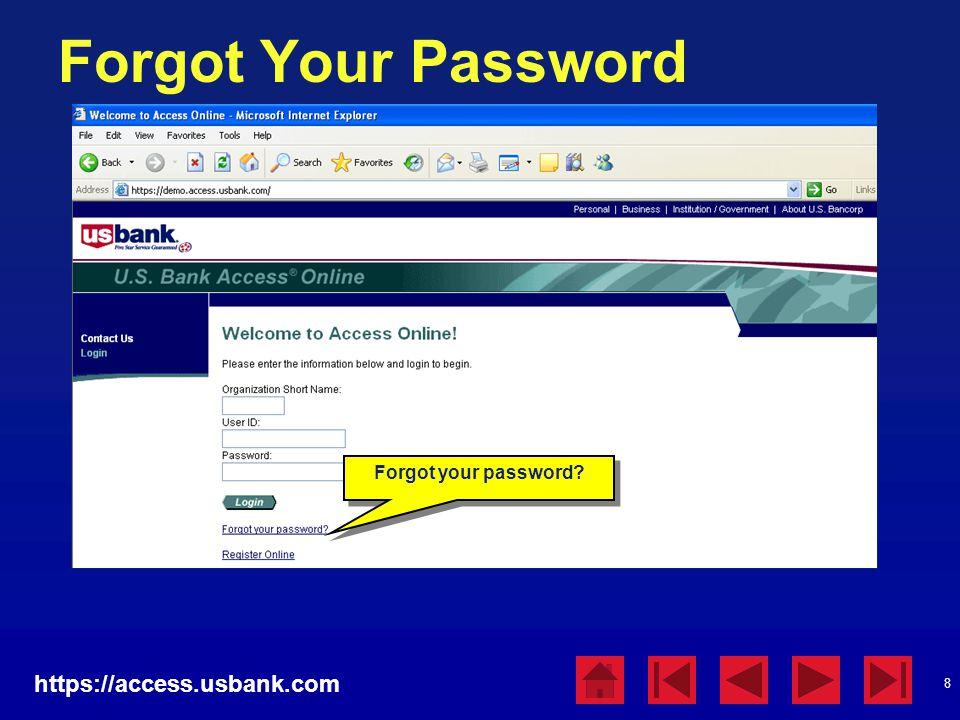 Forgot Your Password https://access.usbank.com Forgot your password