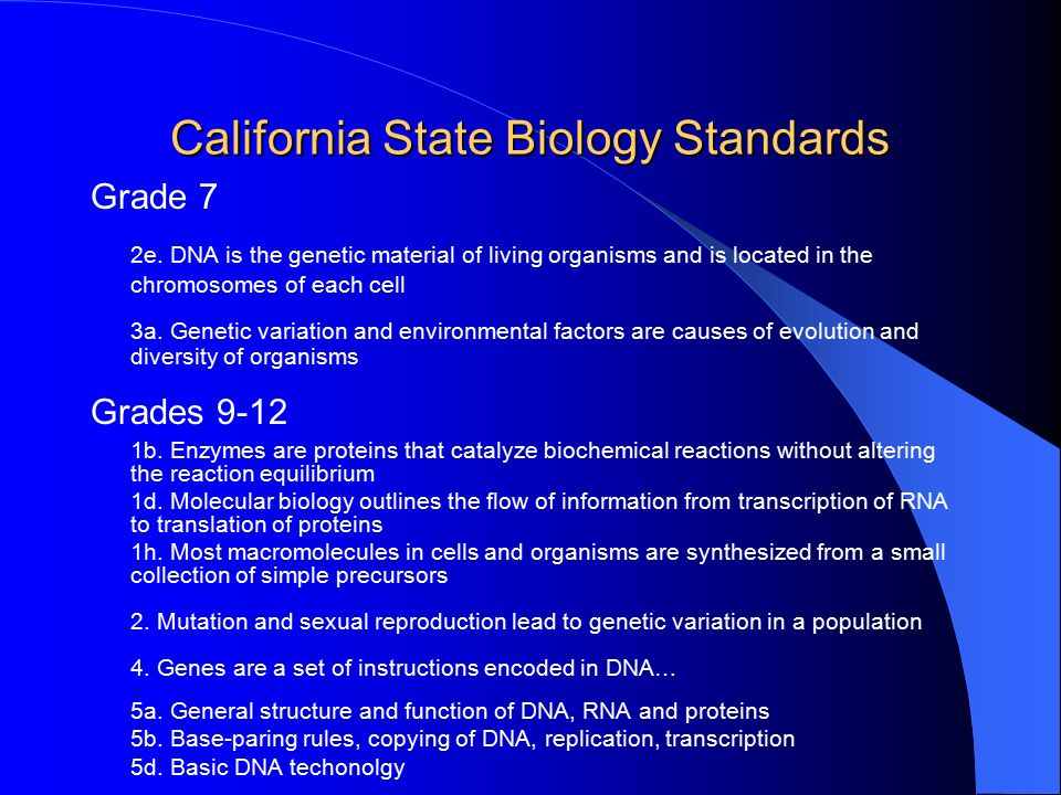 California State Biology Standards