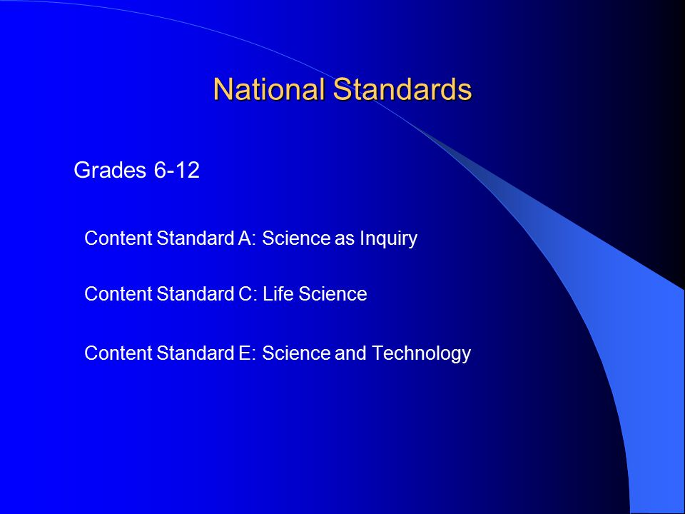 National Standards Grades 6-12 Content Standard A: Science as Inquiry