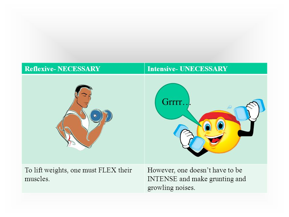 Grrrr… Reflexive- NECESSARY Intensive- UNECESSARY