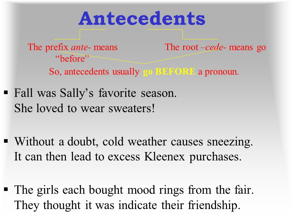 Antecedents The prefix ante- means before The root –cede- means go. So, antecedents usually go BEFORE a pronoun.