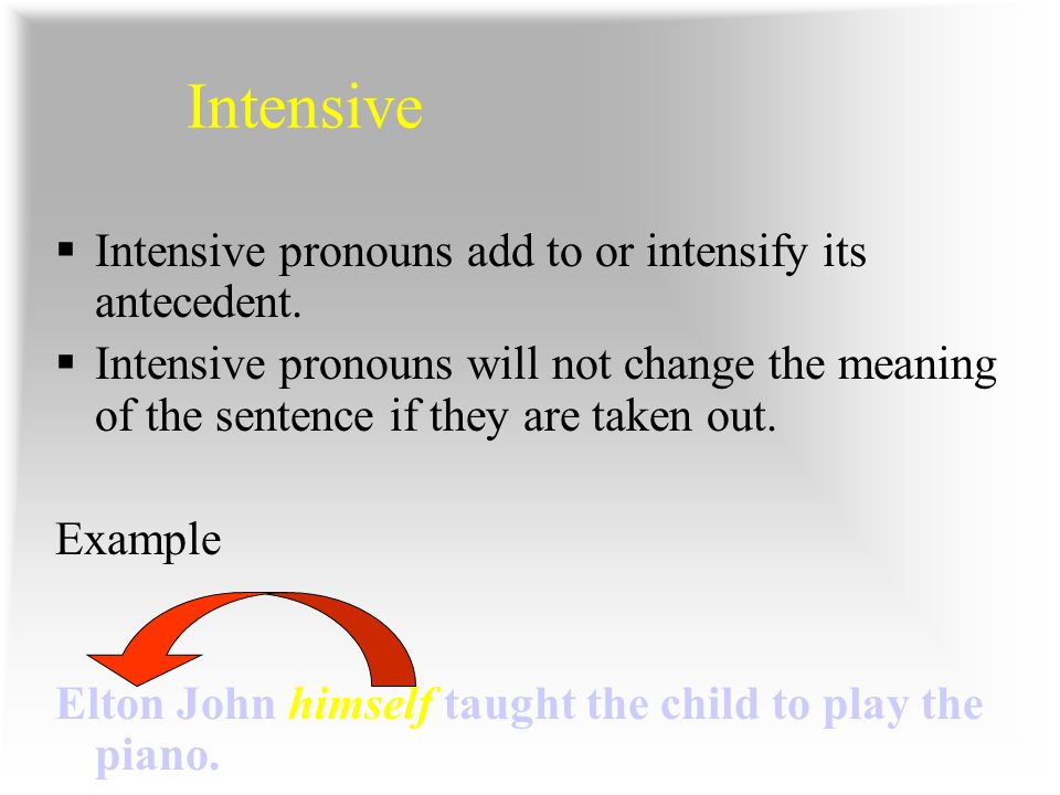 Intensive Intensive pronouns add to or intensify its antecedent.