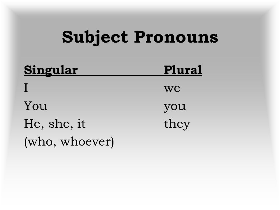 Subject Pronouns Singular Plural I we You you He, she, it they (who, whoever)