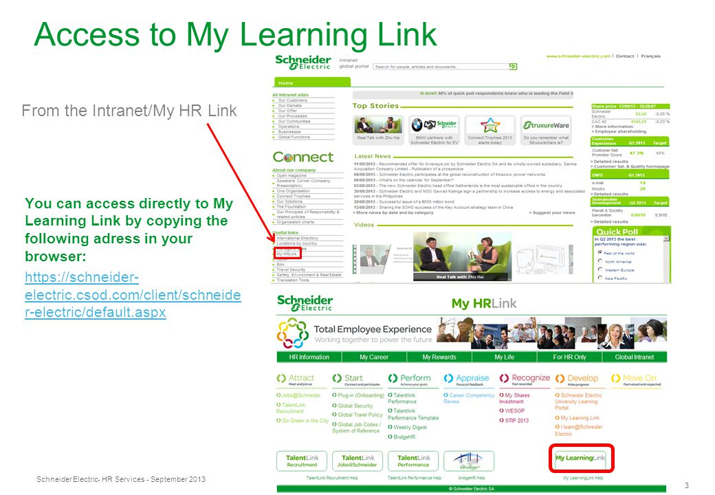 Access to My Learning Link