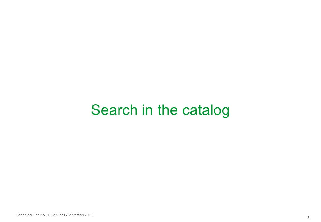 Search in the catalog