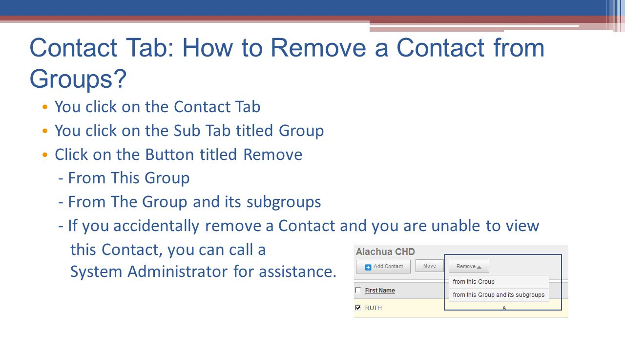 Contact Tab: How to Remove a Contact from Groups