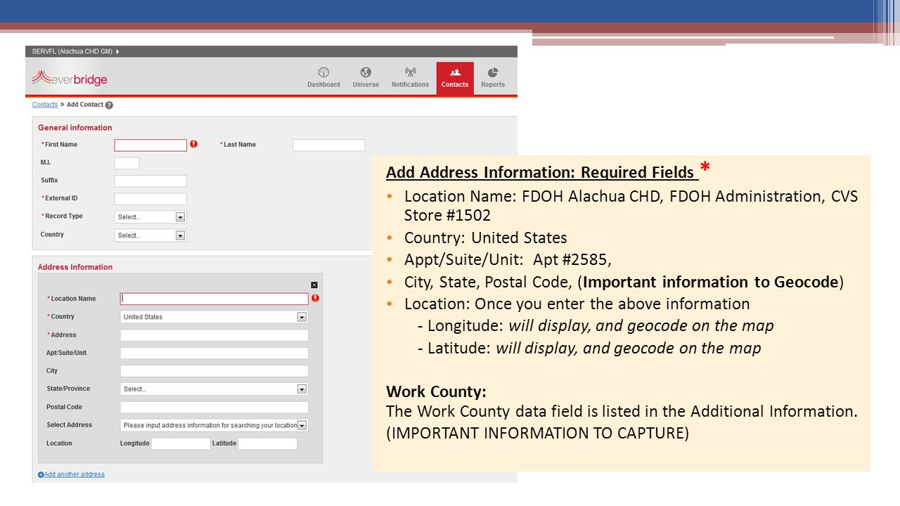 Add Address Information: Required Fields *