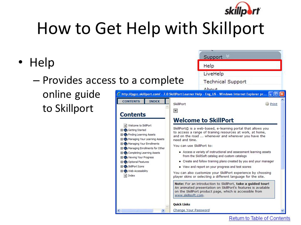 How to Get Help with Skillport