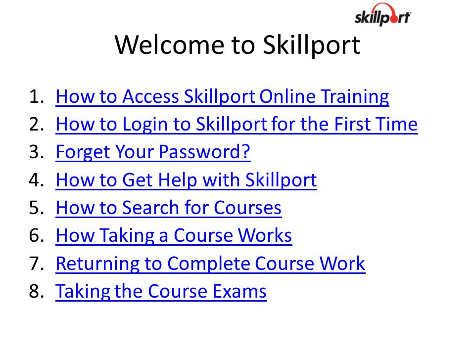 Welcome to Skillport How to Access Skillport Online Training