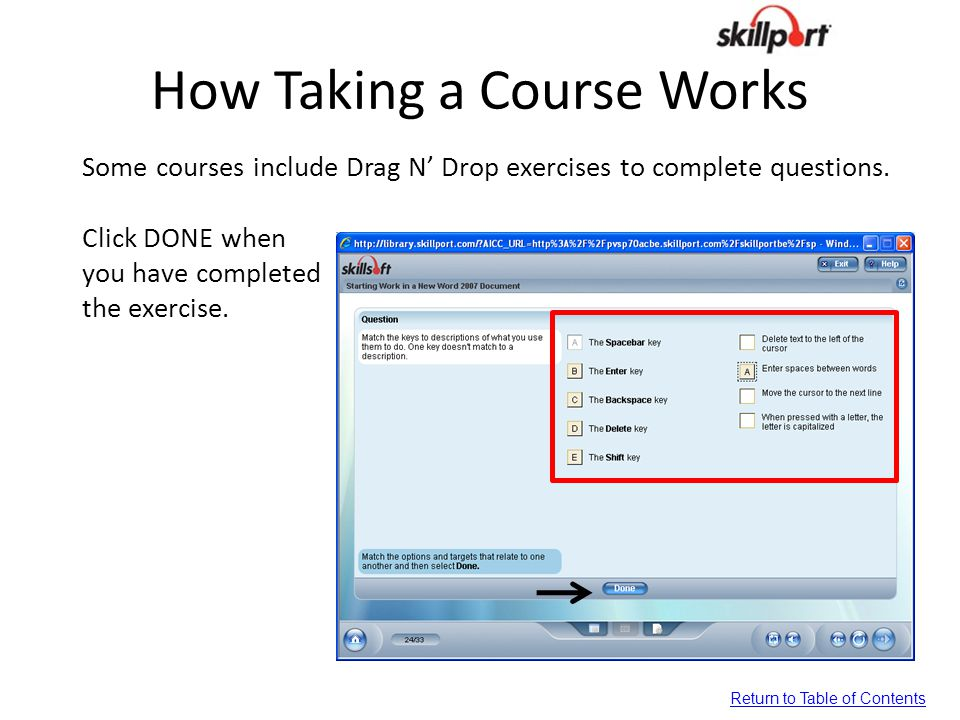 How Taking a Course Works