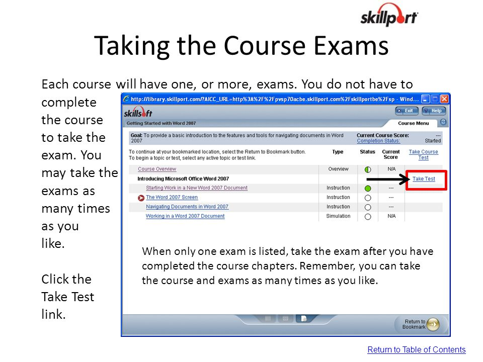 Taking the Course Exams