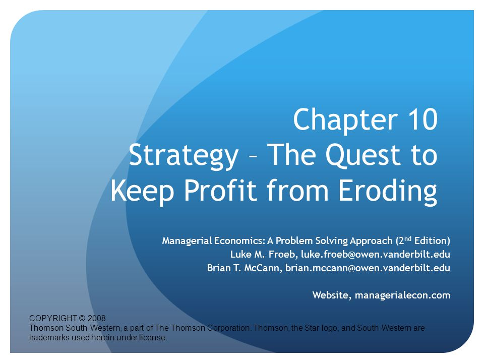 Chapter 10 Strategy – The Quest to Keep Profit from Eroding