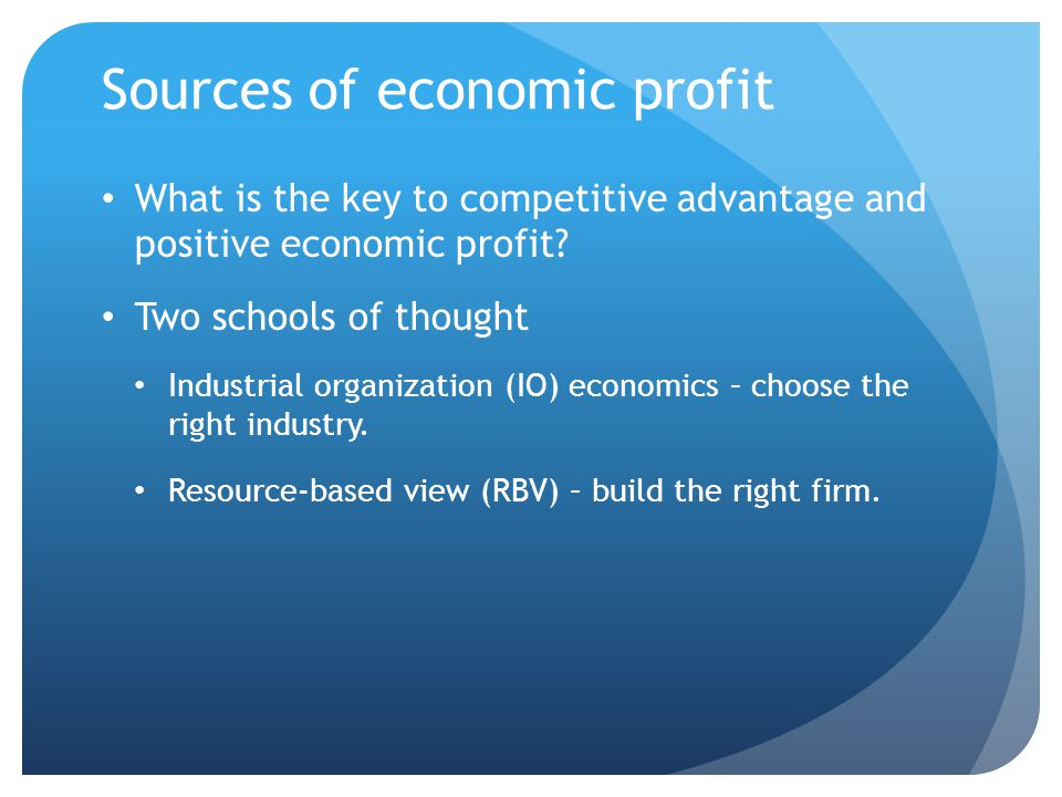 Sources of economic profit