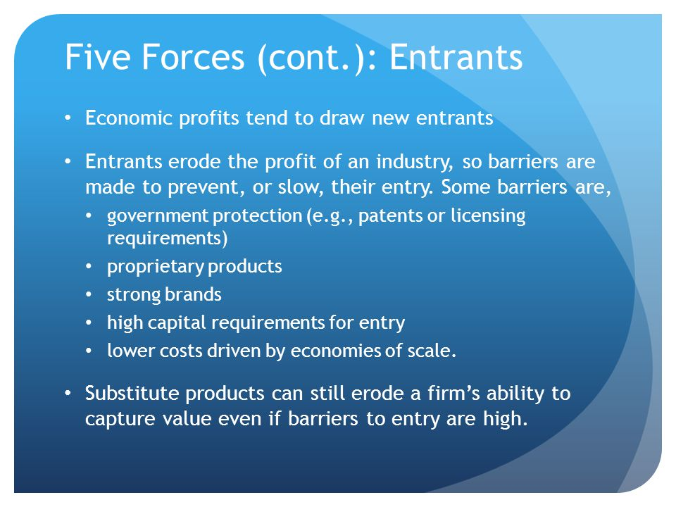 Five Forces (cont.): Entrants