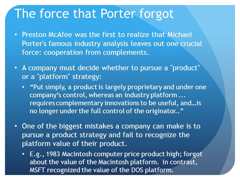 The force that Porter forgot