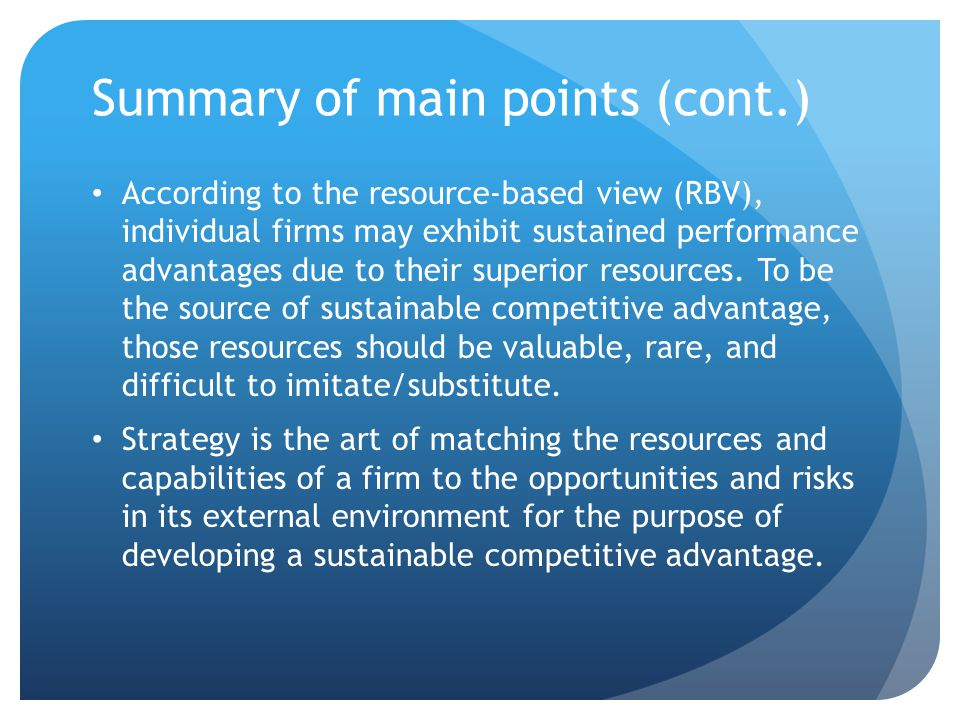 Summary of main points (cont.)