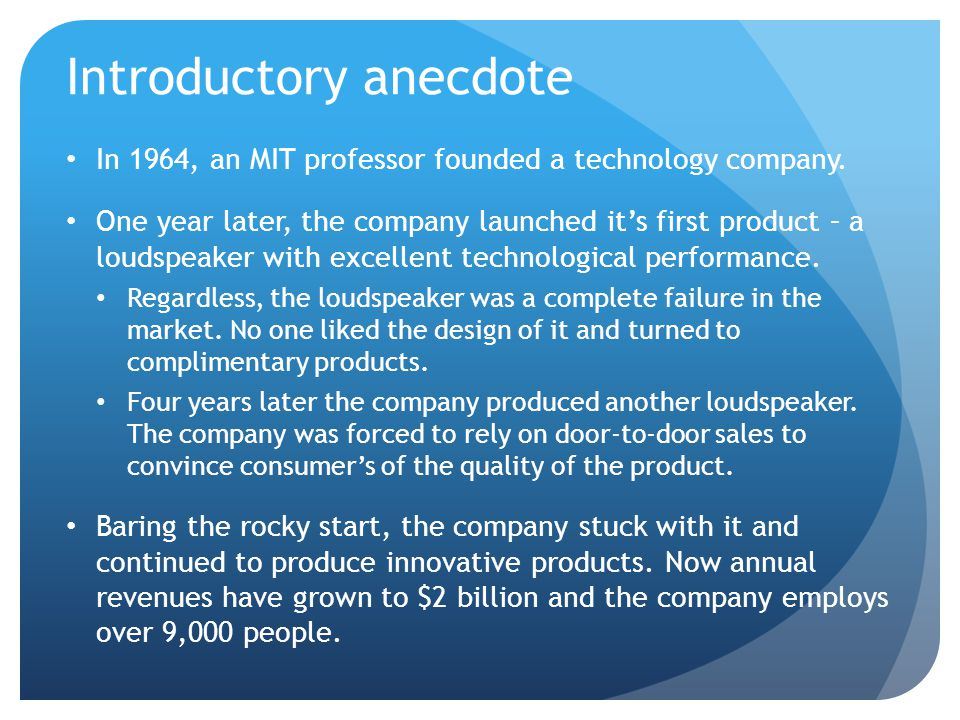 Introductory anecdote
