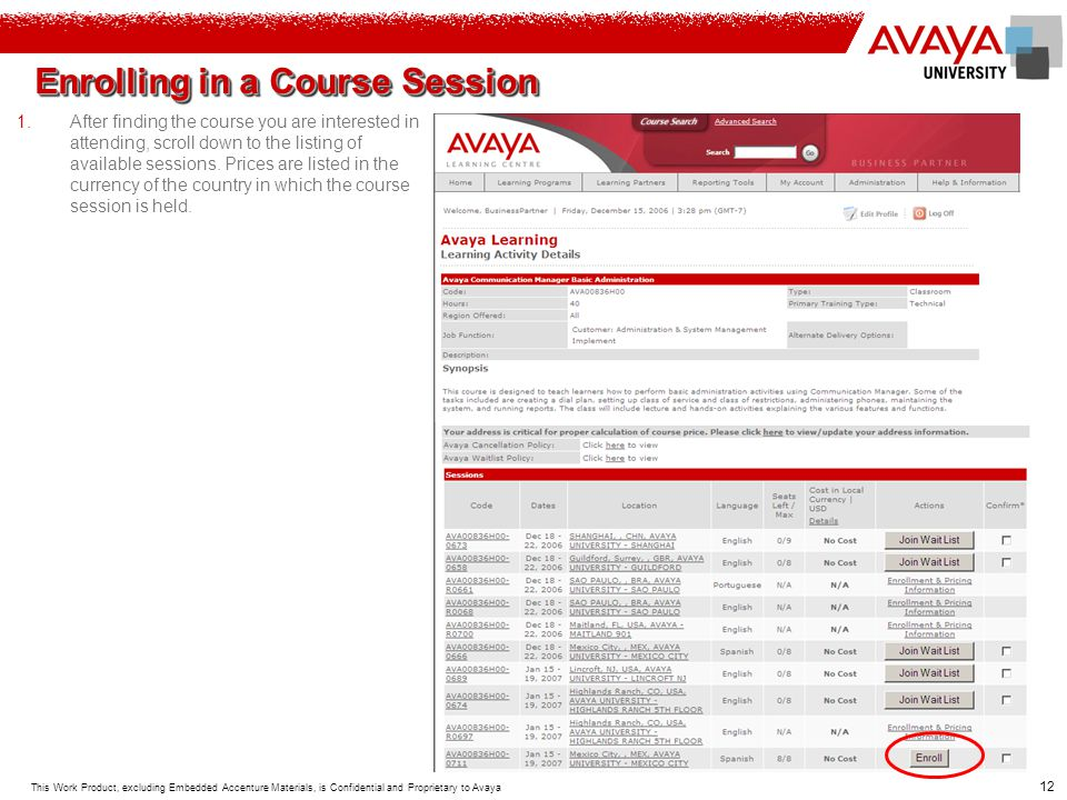 Enrolling in a Course Session