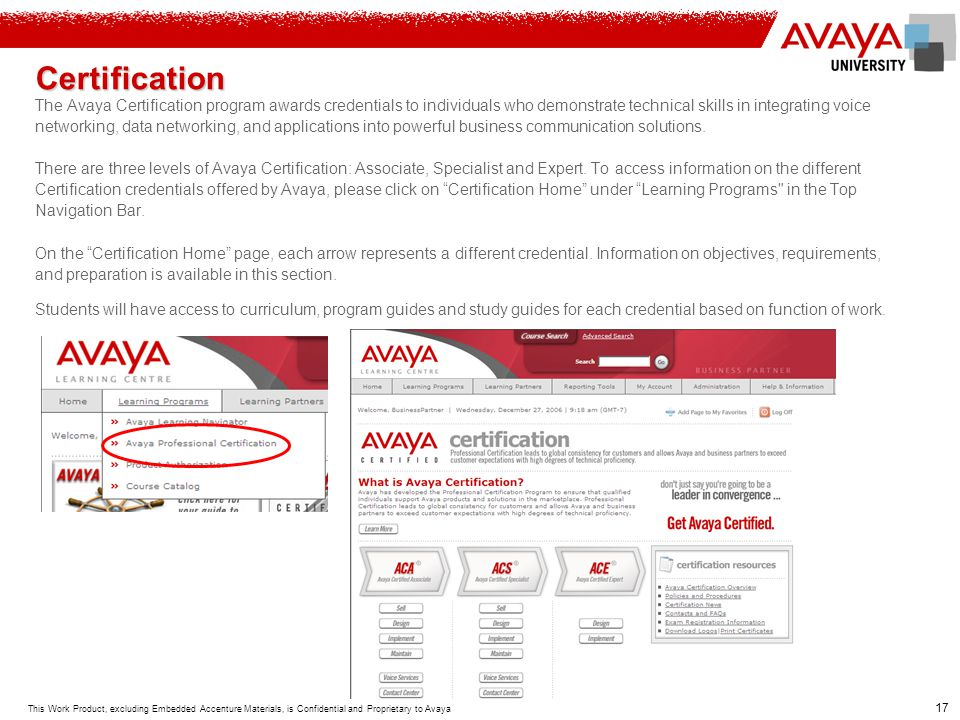 Certification The Avaya Certification program awards credentials to individuals who demonstrate technical skills in integrating voice.