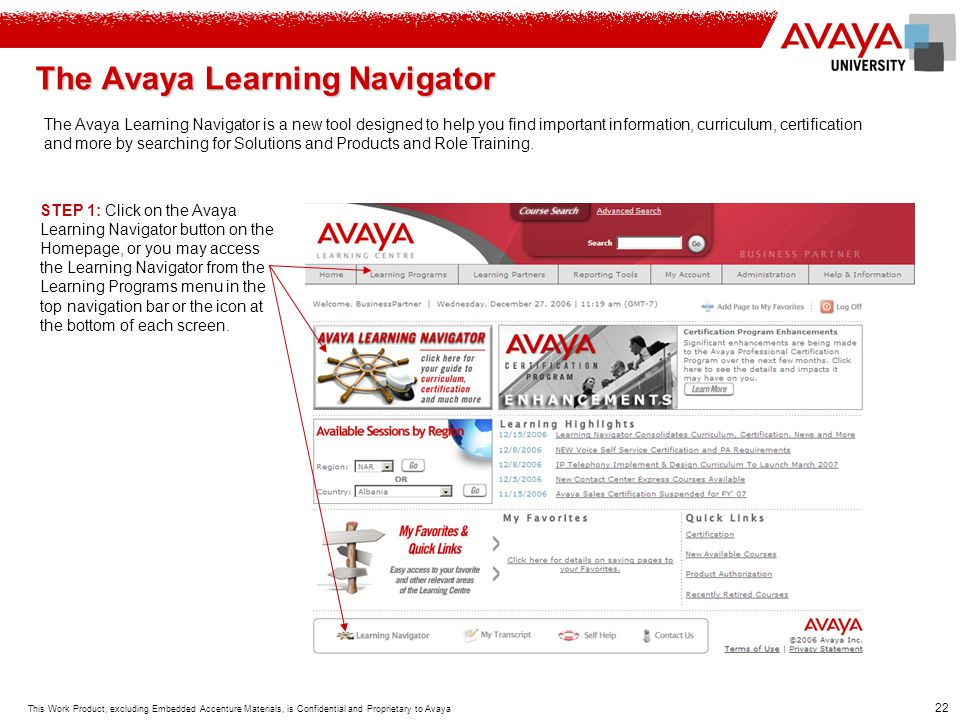 The Avaya Learning Navigator