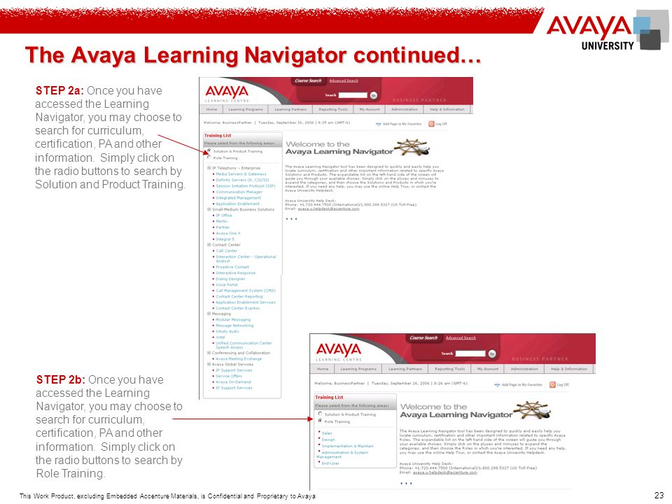 The Avaya Learning Navigator continued…