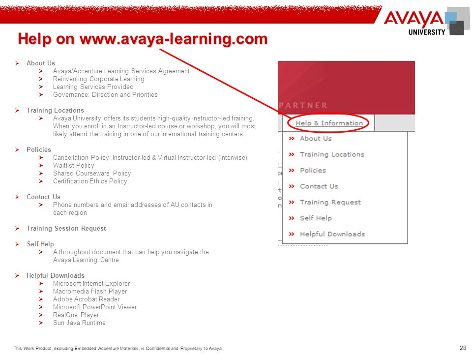 Help on www.avaya-learning.com