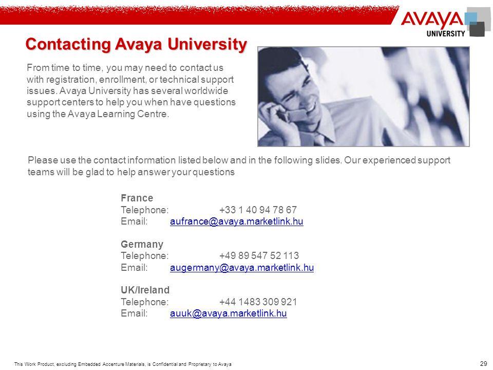 Contacting Avaya University