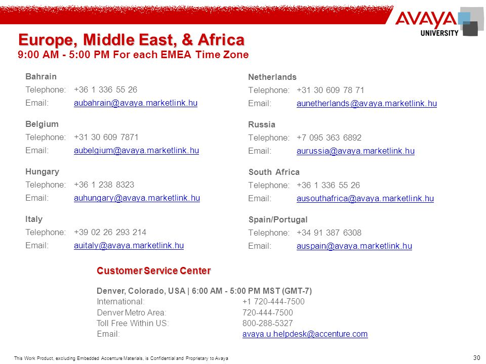 Europe, Middle East, & Africa 9:00 AM - 5:00 PM For each EMEA Time Zone