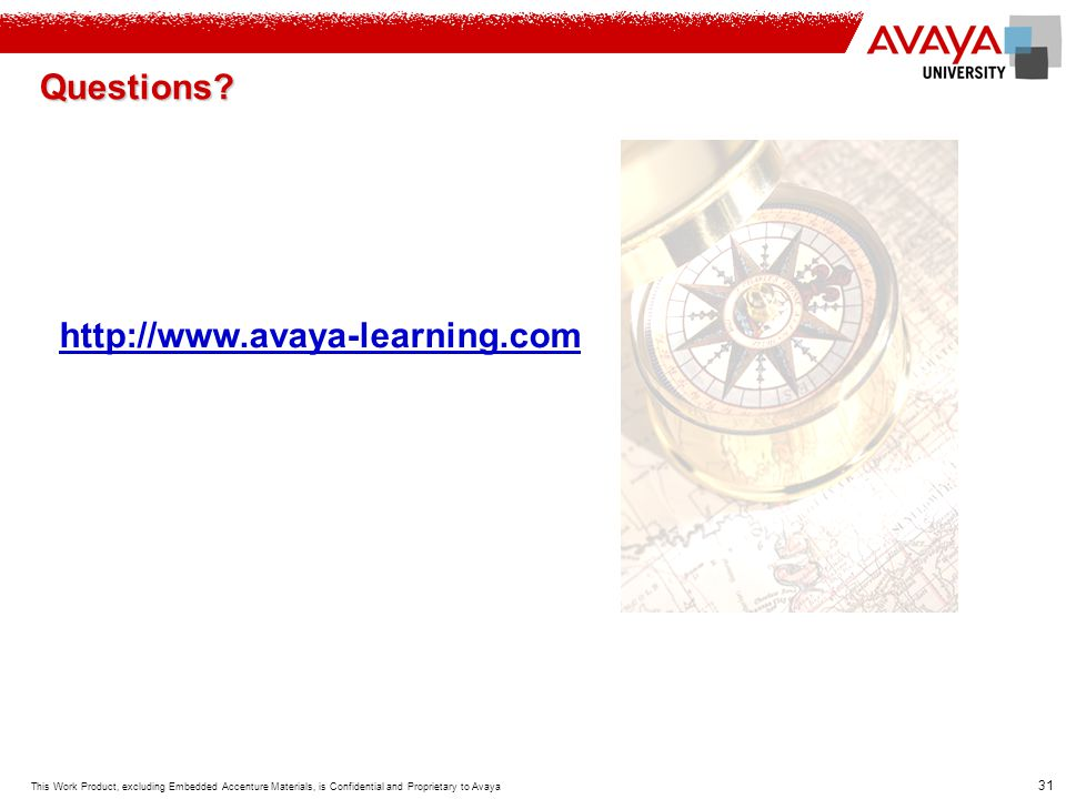 Questions http://www.avaya-learning.com