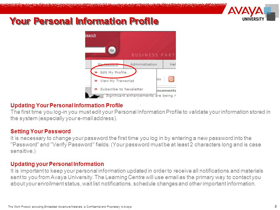 Your Personal Information Profile