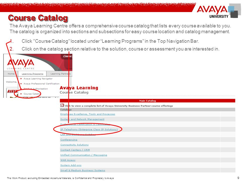 Course Catalog The Avaya Learning Centre offers a comprehensive course catalog that lists every course available to you.