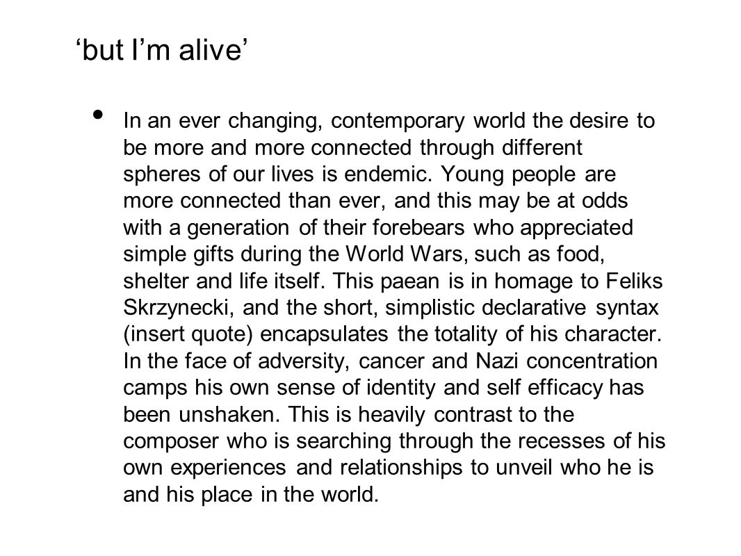 'but I'm alive'
