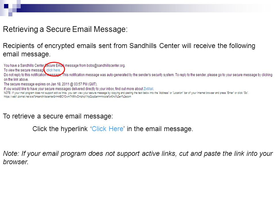 Retrieving a Secure Email Message: