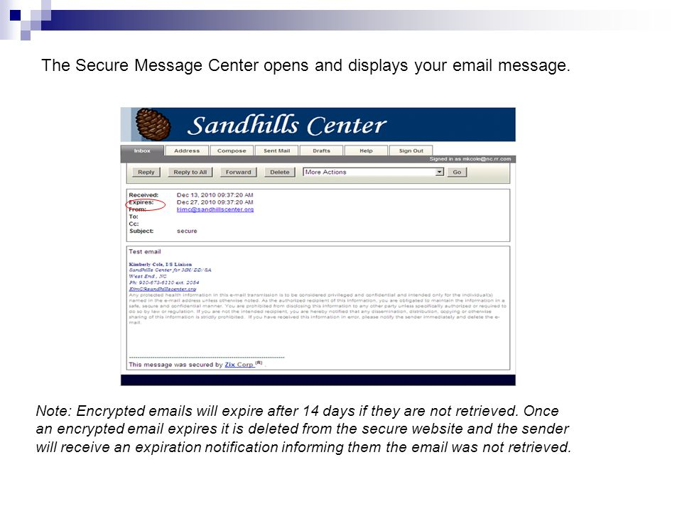 The Secure Message Center opens and displays your email message.
