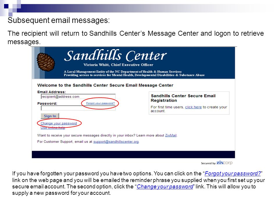 Subsequent email messages: