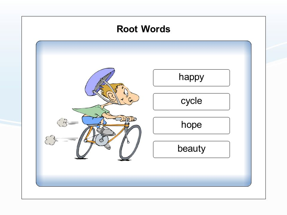 Root Words beauty hope cycle happy